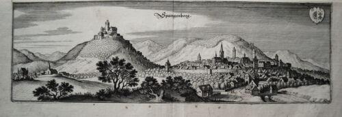 Spangenberg   Hessen seltener echter alter  Merian Kupferstich 1646