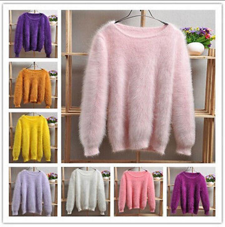 Fancy Womens Winter Angora Mink Cashmere Warm Sweater Fluffy Fuzzy Plush Jumper