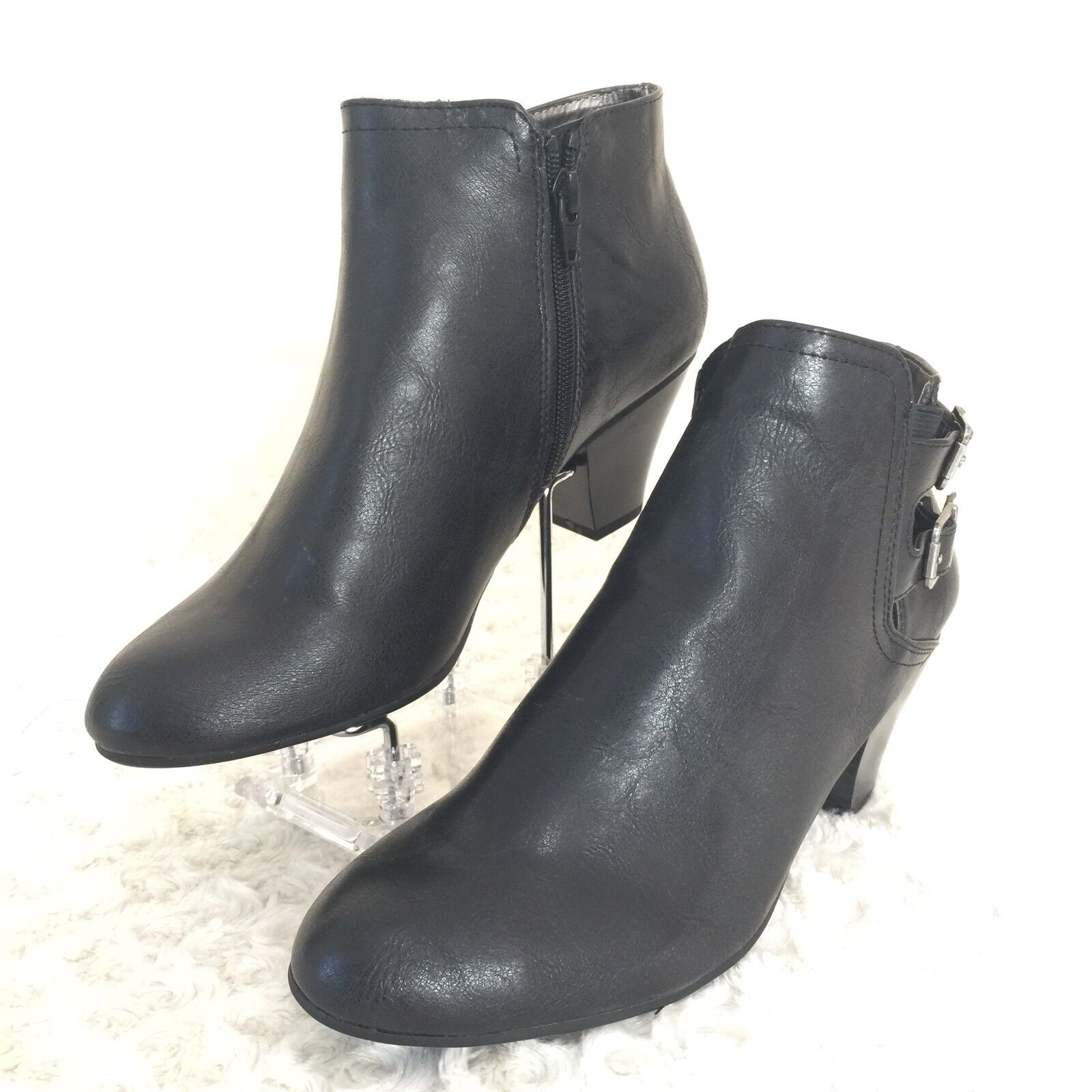 LifeStride Gabe Size 9.5 M Ankle Boots Black Shoes Cushioned Round Toe Side Zip