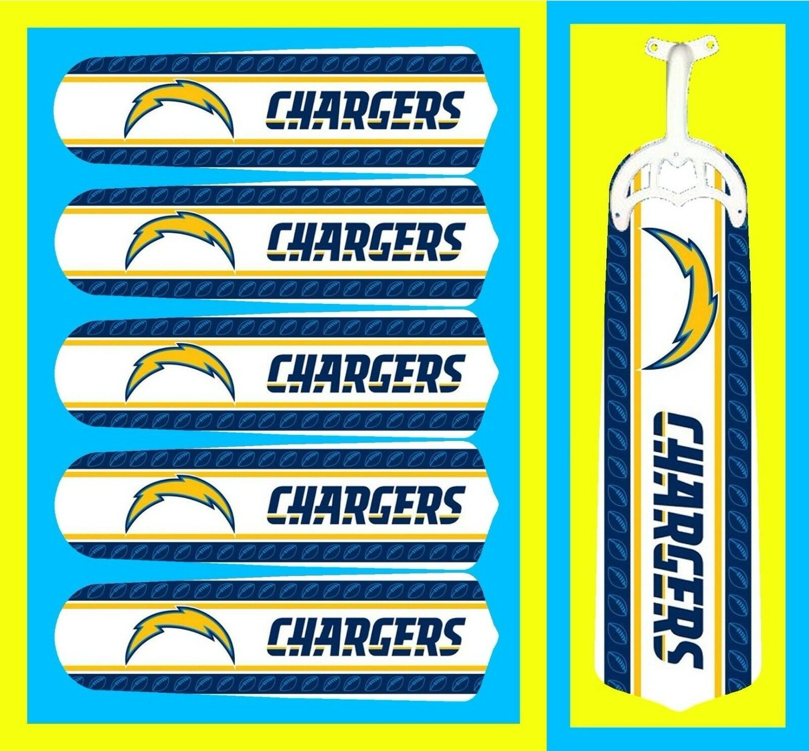 NFL LOS ANGELES CHARGERS LOGOS CEILING FAN REPLACEMENTS BLADES 52  (5 BLADES)