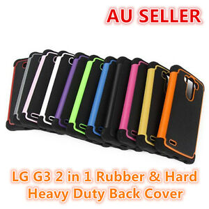 official photos 309f6 f82d1 Details about LG G3 Rubber and Hard 2 in 1 Heavy Duty Back Cover Case