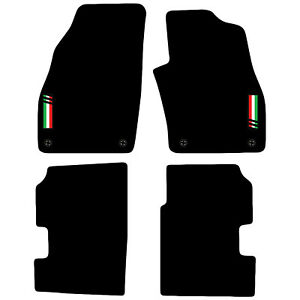 Fully Tailored 4 Piece Black Car Mat Set with 4 Clips Fiat Punto 2012