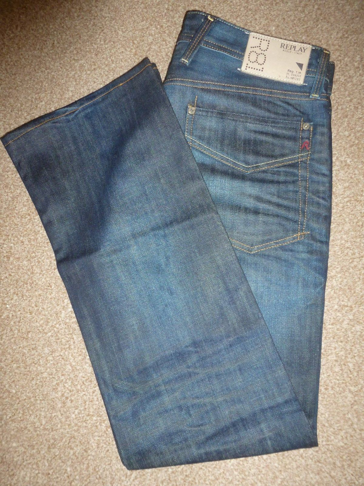 MENS REPLAY SYRRET ITALY DARK blueE CLASSIC BOOTCUT DENIM JEANS WAIST 32 LEG 32