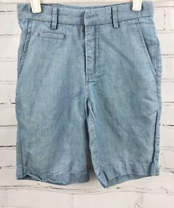 Gap-Kids-Dress-Shorts-Blue-Cotton-Linen-Chambray-Spring-Easter-Summer-Boys-Sz-8