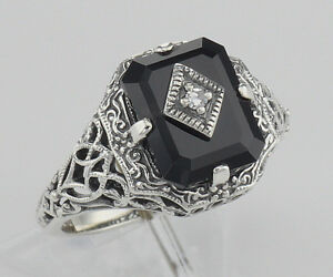 914fec8159a10 Details about Black Onyx Filigree Ring w/Diamond Art Deco Style - Sterling  Silver - Size 6,7,8