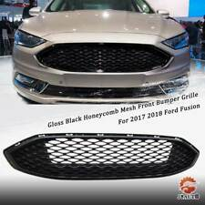 Gloss Black w// Chrome Front Bumper Honeycomb Mesh Grill For Ford Fusion 2017