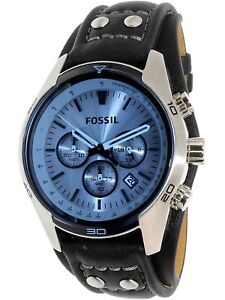 Fossil-Men-039-s-Coachman-CH2564-Blue-Leather-Quartz-Fashion-Watch