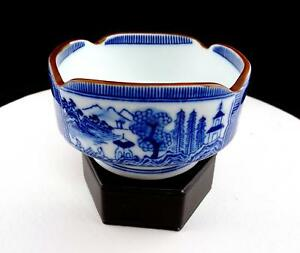 "ASIAN PORCELAIN BLUE AND WHITE BOAT AND RIVER SCENES 4 5/8"" SQUARE RICE BOWL"