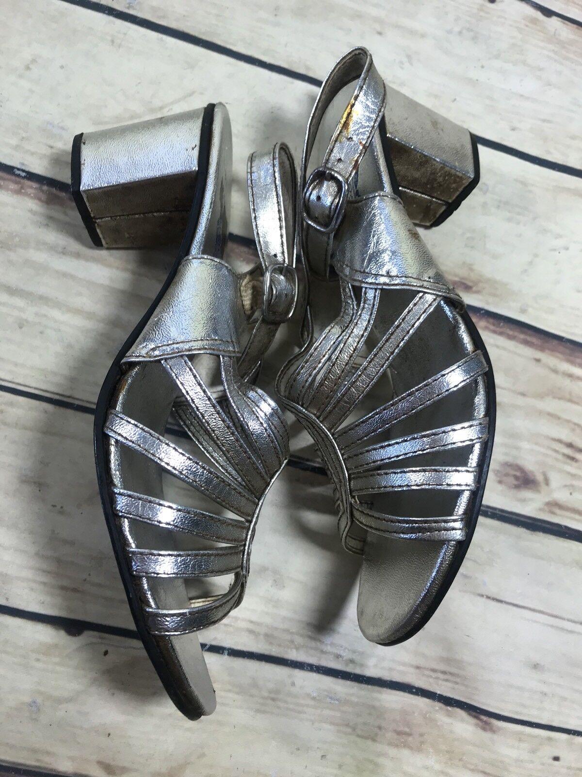 Fashion Womens Size 8-8.5 Silver Heels Metallic Slip-On Strappy Sandals Heels Silver 80460d
