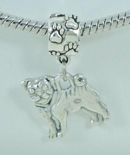 Pug Lovers  Slider Charm fits European Bracelets or Necklace