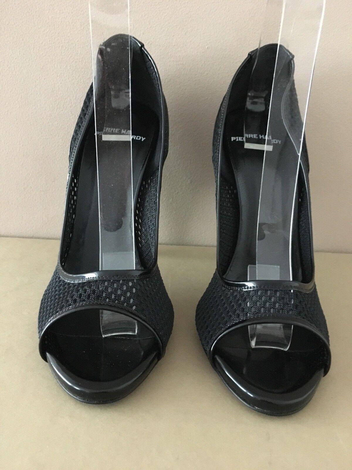 Pierre Hardy Ladies Black Polished Calf Fishnet Open Toe shoes Size 40