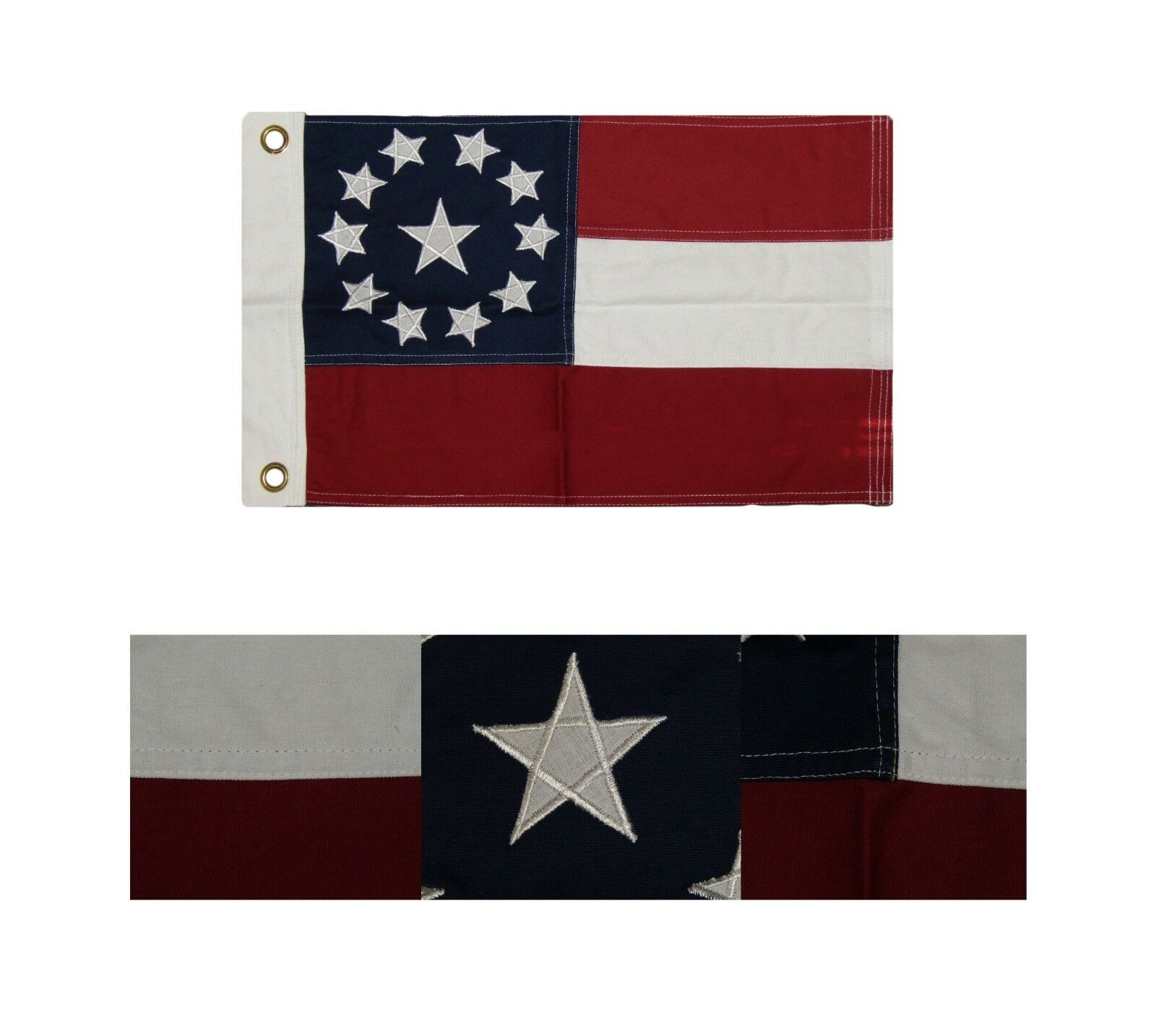 Flags #2 12x18 Embroidered 1st National Stars and Bars 100