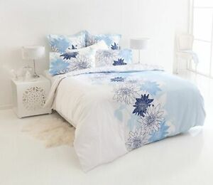 SHUT-EYE-Sybella-White-Blue-Floral-Queen-or-King-Quilt-Cover-Euro-Pillowcases