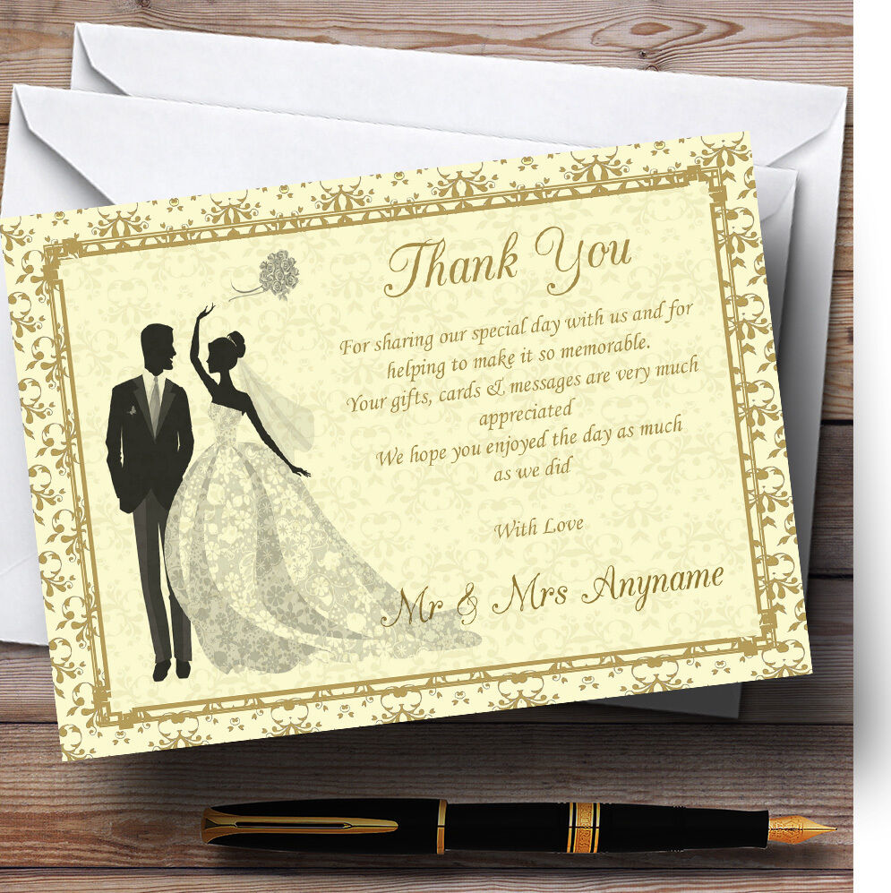 Gold Gelb Classic Personalised Wedding Thank You Cards
