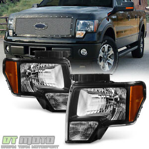 2014 Ford F150 Accessories >> Black 2009 2014 Ford F150 Replacement Headlights Lamps Aftermarket