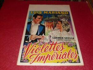 Cinema Plakat Original Belgisches - Violettes Imperiale Luis Mariano 1952
