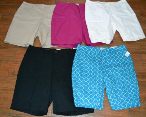 Womens PLUS ST JOHNS BAY Bermuda Shorts SECRET SLENDER New White Size 22W