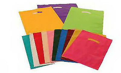 Premium Plastic Shopping Carrier Bags - ALL COLOURS - SMALL (10x12x4 INCHES)