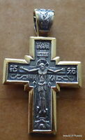 Russian Made Silver & Gold Plated Cross Pendant Christ