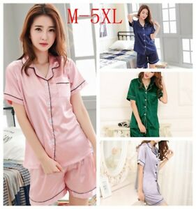 Womens-Silk-Satin-Pajama-Sets-Short-Sleeve-Sleepwear-Homewear-Night-Wear-Plus