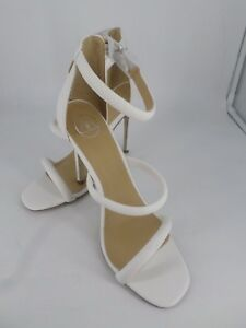 Missguided White Croc Rounded Three Strap Barely There Heels UK 7 EU 40 LN19 03