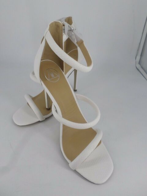 708180b416ab Missguided White Croc Rounded Strapy Barely There Heels UK 7 EU 40 LN19 03  SALEs