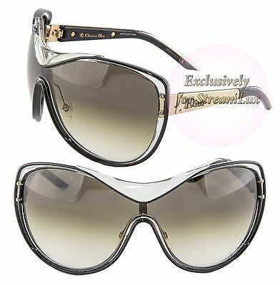 CHRISTIAN DIOR STRIKING Shield Oversized Sunglasses Crystal Gold Black 62XJS