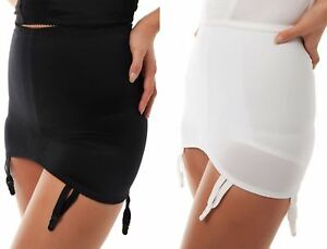 White-Black-Pull-On-Suspender-Belt-High-waisted-garter-Plus-size-10-30-Girdle