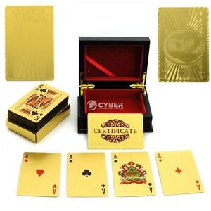 24K-Gold-Leaf-Playing-Cards-54-Card-Poker-Set-99-9-Pure-Gold-With-Mahogany-Box