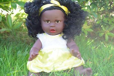 """16"""" Grandi Afro Nero Ethic Africana Afro Bambola + Vestiti-tutti In Vinile 40cmh-mostra Il Titolo Originale I Consumatori Prima"""