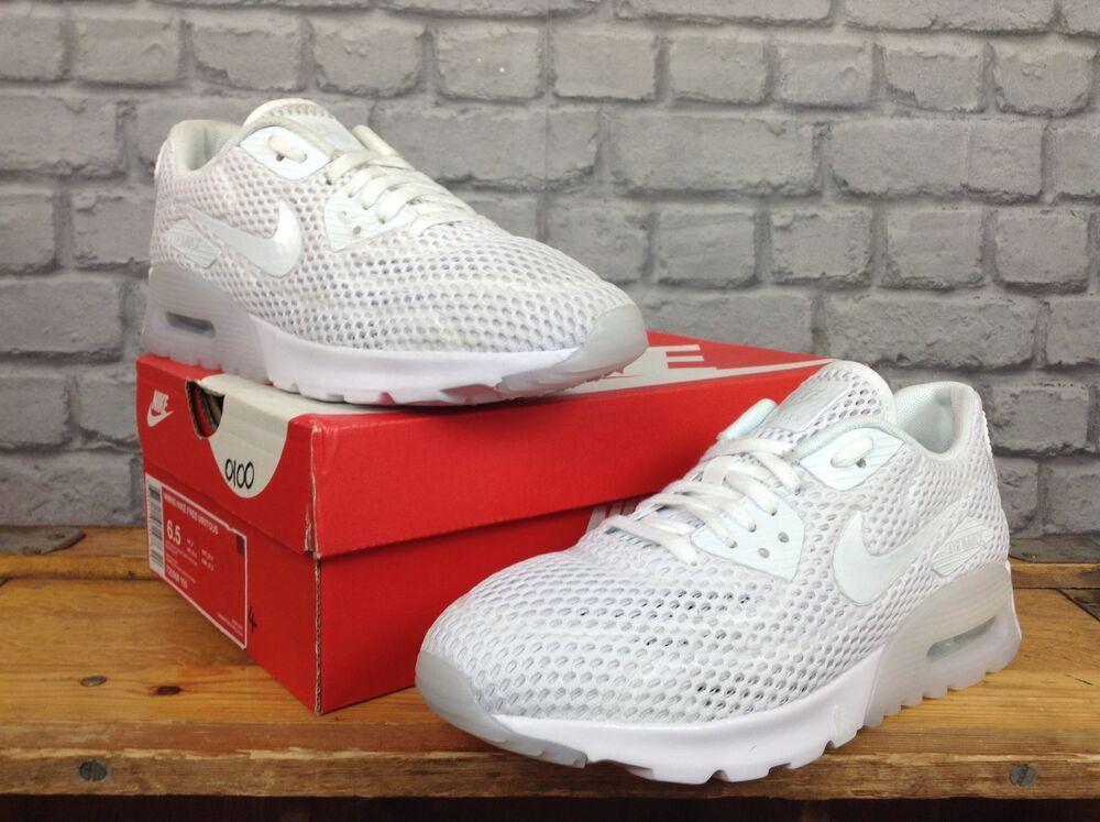 Nike femmes uk 6 eu 40 blanc platinum air max 90 ultra respirer baskets   110-