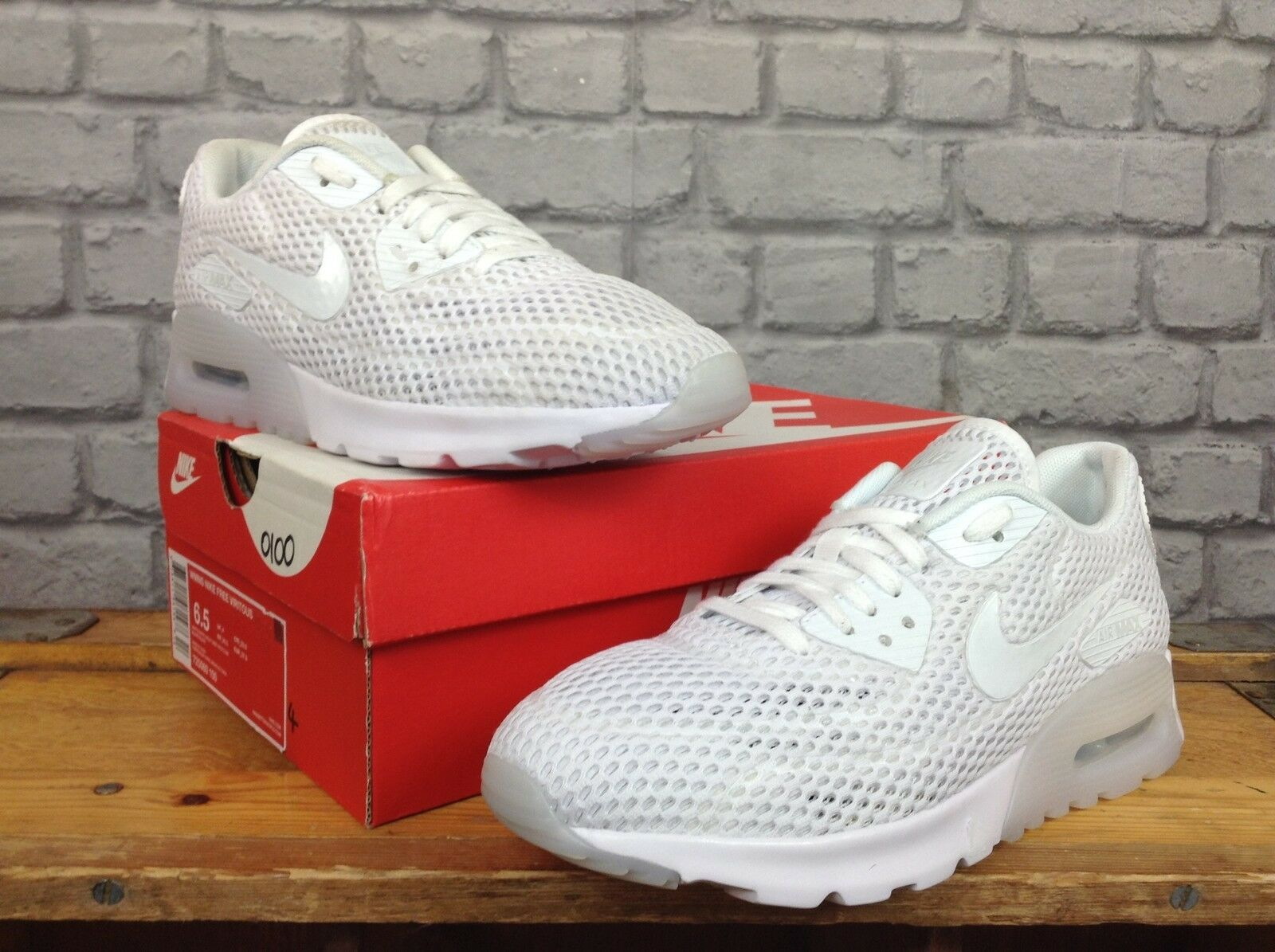 NIKE LADIES5.5 EU 39 blanc PLATINUM AIR MAX 90 ULTRA BREATHE TRAINERS