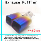 Dual Square Rolled Angle Slanted Exhaust Muffler Burnt Tip Pipe 63mm Universal