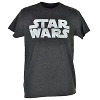 Disney Star Wars Classic Logo Heather Gray T-shirt Tee Mens Adult Crew Neck