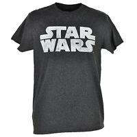 Disney Star Wars Classic Logo Heather Gray T-shirt Tee Mens Adult Crew Neck