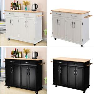 Details About Modern Kitchen Island Cart Mobile Wheels Cabinet Storage Organizer Unit 2 Drawer