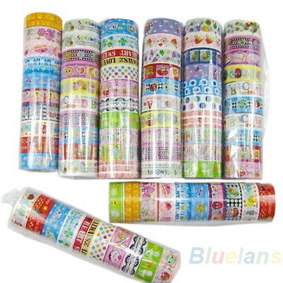 New 10 rolls Lovely Cartoon Kawaii Tape Scrapbooking Adhesive Paper Sticker BA3A