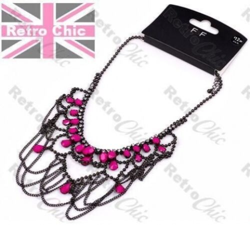 Gran Araña Collar tassle cadenas Rhinestone faceta Cuello Hot rosa//negro