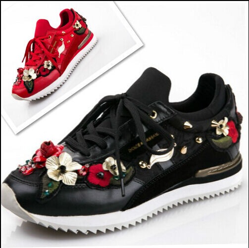 donna Leather Luxury Rhinestone Embroidery Rivet Lace Up Casual Sports scarpe Nw