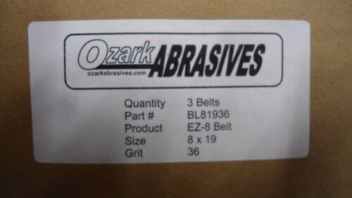 """OZARK ABRASIVES 8/"""" X 19/"""" BL81936 EZ-8 SANDING BELT 36 GRIT 3 PK U.S MADE"""