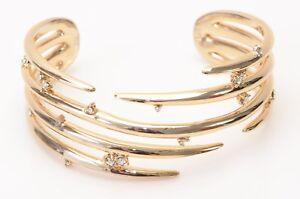Alexis-Bittar-Satellite-gold-tone-metal-crystal-spike-cuff-bracelet-NEW-195