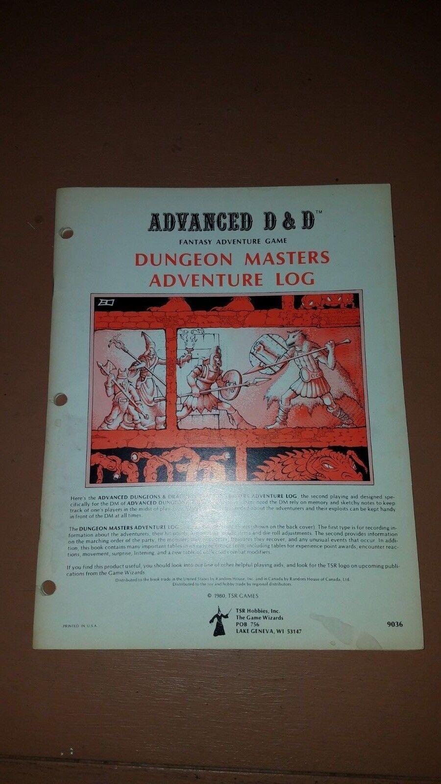 TSR  AD&D 1E Aid - DUNGEON MASTER'S ADVENTURE LOG ; complete unused