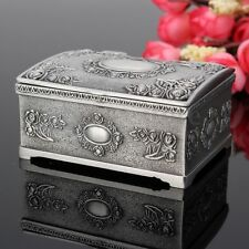 Vintage Jewelry Box Case Silver Necklace Ring Bracelet Storage Organizer Gift