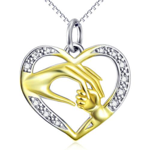 Mano madre u niño dorado en el corazón circonita blanco cadena colgante 925 plata