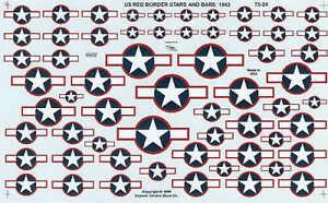 Experts Choice 1/72 EE.UU. Nacional Insignia Estrella Y BAR 1943 Rojo Frontera #