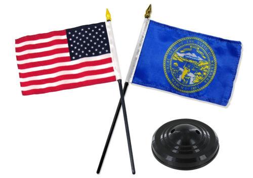 "Nebraska State w// USA America American Flag 4/""x6/"" Desk Set Table Black Base"