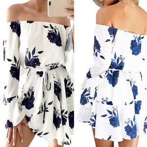 UK Women Holiday Off Shoulder Long Sleeve Floral  Boat neck Casual Beach Dresses