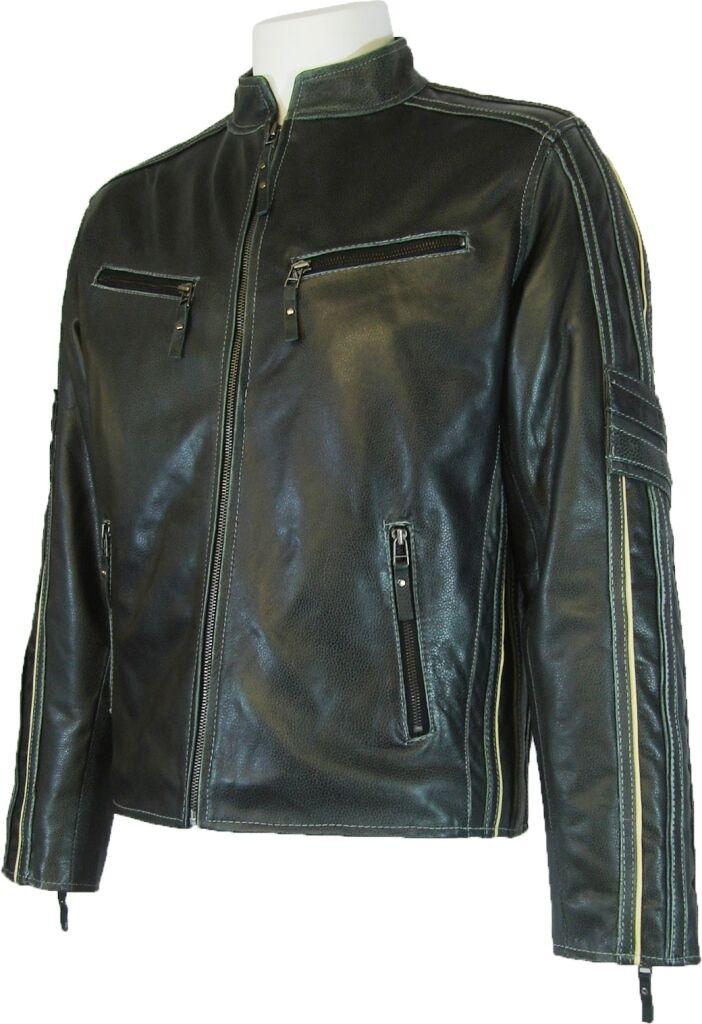 UNICORN Uomini Vera Pelle motociclista di stile giacca classica - Nero  S6