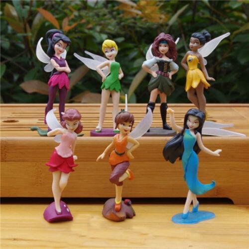 Lot 7 Pièces Fée Clochette Figurine Être Debout Enfants Jouet Cadeau Collection