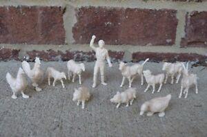 Marx-Farmer-Farm-Animals-60MM-Sheep-Cow-Chicken-Pig-Toy-Figures-Duck